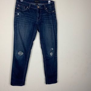 White House Blk Market- Cropped Distressed Jeans